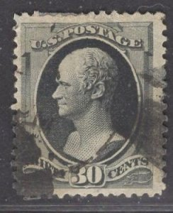 US Stamp #190 30c Full Black Hamilton USED SCV $90.00