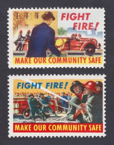 FIGHT FIRE! REKLAMEMARKE POSTER STAMPS 1950S ⭐ LOT OF 2 ⭐ MNH - OG