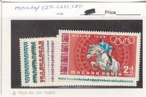 J25753  jlstamps 1968 hungary mnh set #c277-83,cb31 sports all checked