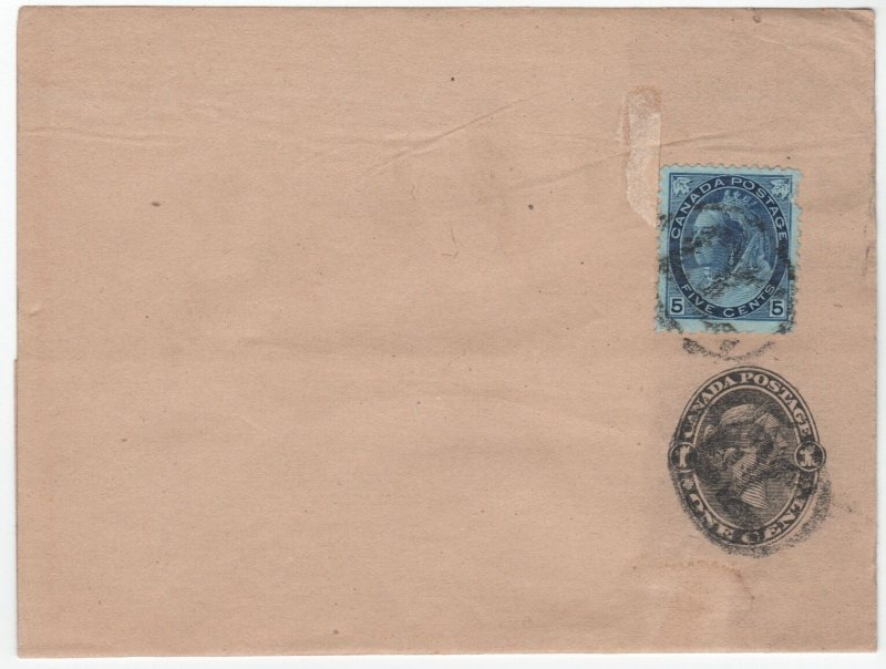 Wrapper Registered 5 cent Numeral on 1c stationary uprated, rare Canada cover