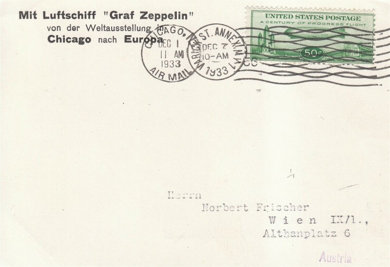 Card Zeppelin 1929 Airship Germany US LZ 127 Sc C18 Chicago Austria