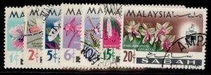 MALAYSIA - Sabah QEII SG424-430, complete set, FINE USED.