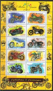 FRANCE 2002 MOTORCYCLES - SHEET OF 10