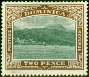 Dominica 1907 2d Green & Brown SG39 Fine Mtd Mint
