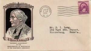 US FDC #784 Susan B. Anthony, Linprint (2371)