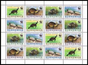 Slovenia WWF European Pond Tortoise Sheetlet of 4 sets SG#279-282 MI#131-134