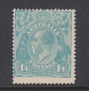 Australia Sc 37 MLH. 1920 1sh/4p light blue KGV, Scarce