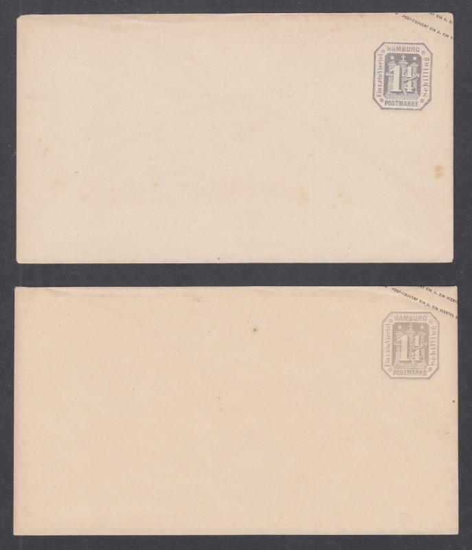 Hamburg Mi U2a, U2b unused 1871 1¼sch indicia in 2 shades, reprints of 1866