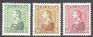 Iceland Sc# 199-201 MH (b) 1937 Christian X