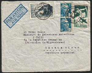 FRANCE 1948 commercial airmail cover to Argentina..........................15067
