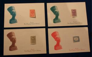 ROYAL EGYPTIAN STAMP COLLECTION 4 DIFFERENT STAMPS SET UP BY K. BILESKI