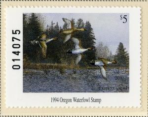 US OR11 OREGON STATE DUCK STAMP 1994 MNH SCV $15.00 BIN $7.50