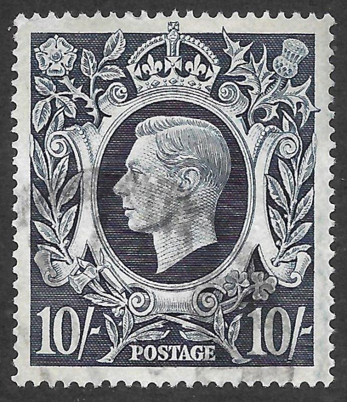 Doyle's_Stamps: Used 1939 British 10-Shilling KGVI Scott  #251