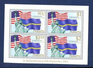 NAURU - Scott 496 - FVF MNH S/S - Flags, Terrorism - 2001