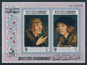 [95503] Aden Qu'aiti State Hadhramaut 1967 Paintings Cranach Imperf. Sheet MNH