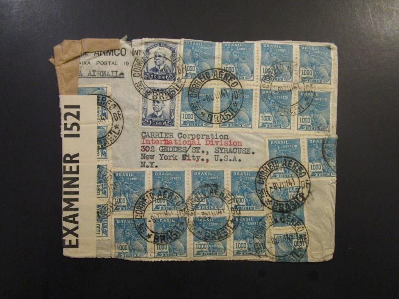 Brazil 1941 Censor Cover to USA / Small Edge Tears - Z6042
