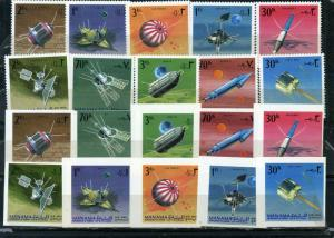 MANAMA 1968 SPACE RESEARCH/SATELLITES 2 SETS OF 10 STAMPS PERF. & IMPERF. MNH