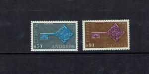 Andorra: (French) 1968 Europa, SG  F208/9, Mint set