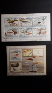 Airplanes - History of Aviation 1 - Mozambique 2009 - Complete SS + Bl ** MNH