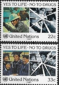 1987 United Nations NY Fight Drug Abuse SC# 497-498  Mint