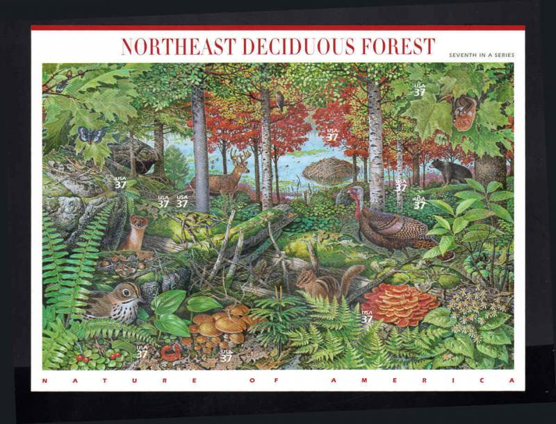 Scott #3899 MNH NATURE OF AMERICA SERIES 7th SHEET - Northeast Deciduous Forest