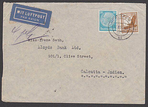 GERMANY 1937 airmail cover Berlin to India.................................27991
