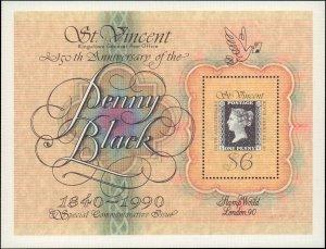 St. Vincent #1321, Complete Set, Souvenir Sheet Only, 1990, Stamp on Stamp, N...