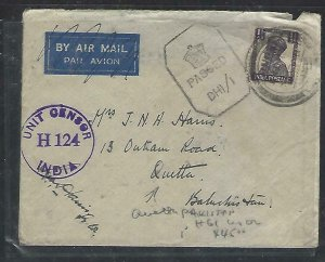 PAKISTAN (PP0711B)1943 COVER TO QUETTA KGVI 1 1/2A CENSOG H124, DH1/1