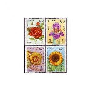 Libya 284-287,MNH.Michel 193-196. Flowers 1965.Rose,Iris,Opuntia,Sunflower.