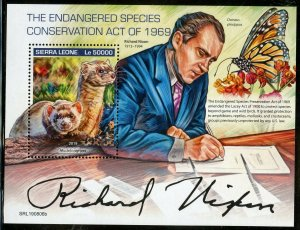 SIERRA  LEONE 2019 ENDANGERED SPECIES CONSERVATION ACT OF 1969  S/SHEET MINT NH