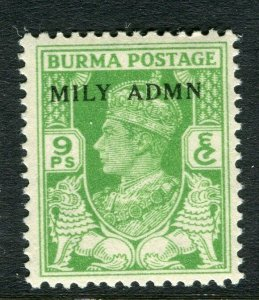 BURMA; 1945 early GVI MILY ADMIN issue fine Mint hinged 9p. value