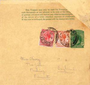Gibraltar 1d and 1 1/2d KGV on 1/2d KGV Wrapper 1926 Gibraltar, 25 Printed ma...