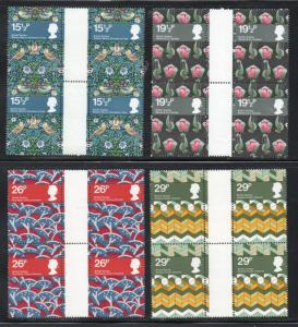 Great Britain Sc 996-99 1982 Textile Design stamps gutter blocks of 4 mint NH