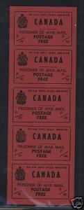 Canada #PW6 XF/NH Vertical Pane Of Five