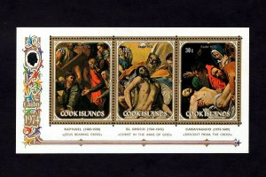 COOK IS - 1974 - EASTER - JESUS - CROSS - DESCENT - PAINTINGS - MINT NH S/SHEET!