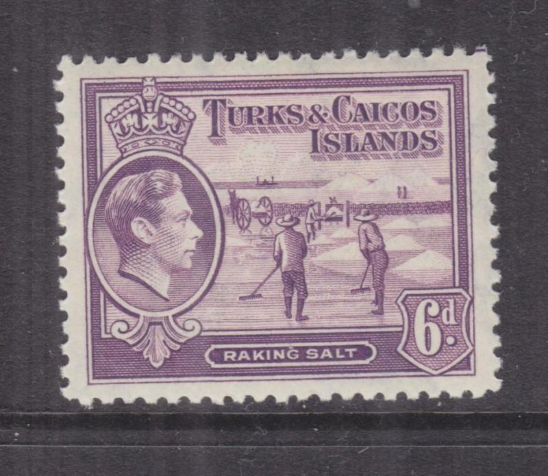 TURKS & CAICOS ISLANDS, 1938 KGVI 6d. Mauve, lhm.