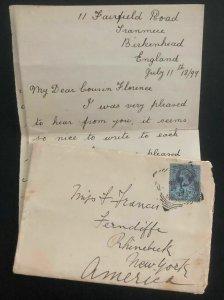 1899 Birkenhead England Cover To Rhinebeck NY USA Original Letter Enclosed