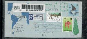 FALKLAND ISLANDS COVER (PP0301B) 1996 QEII REG AEROGRAM TO COSTA RICA.  WOW!!