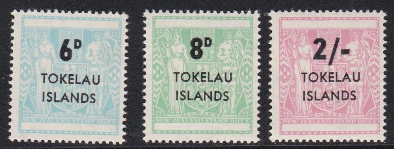 Tokelau # 6-8, Postal Fiscal Stamps with Surcharges, NH, Half Cat.