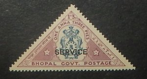 India Bhopal O30. 1935 1a3p Official, NH