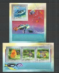 ST775 2014 GUINEA FAUNA FISH & MARINE LIFE LES POISSONS KB+BL MNH STAMPS