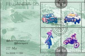 Finland Stamp Sc#957 -(1995) - S/Sheet - Team Sports