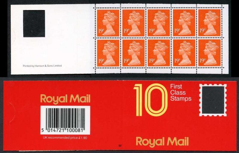 DB17(7) 1988 1.90 Type 2 10x19p Orange-red Code M ACP/PVAD Plain Window Booklet