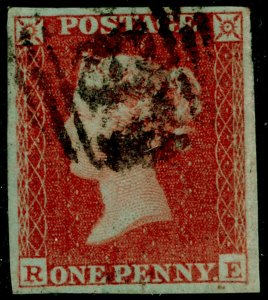SG8, 1d red-brown PLATE 154, FINE USED. Cat £40. 4 MARGINS. RE