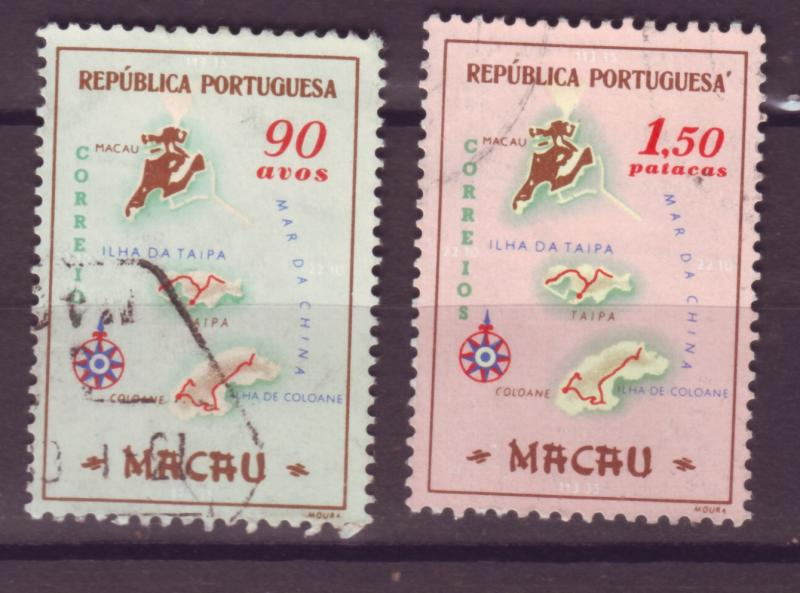 J17750 [low price] JLstamps 1956 various macao map hvs of set used #389-90