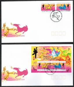 Christmas Is. Chinese New Year 'Year of the Goat' 2v+MS FDC SG#523-MS525