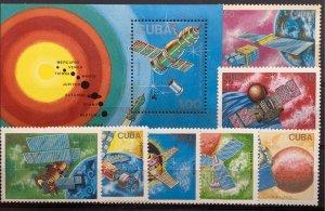 CUBA 1988 SC# 3017-3024 COSMONAUTS' DAY Set of 7 + Souvenir Sheet MNH