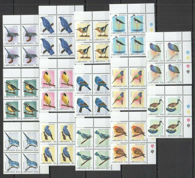 O1177 2000 GRENADA FAUNA BIRDS #4476-89 MICHEL 240 EURO !!! CORNER 4SET MNH