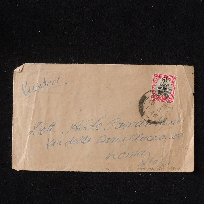 WS-E906 BRITISH KUT - To Italy, South Africa Surch. Stamp 1946 Printed Cover
