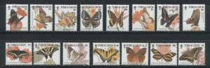 Turks and Caicos 2001 butterflies insects set 15v MNH